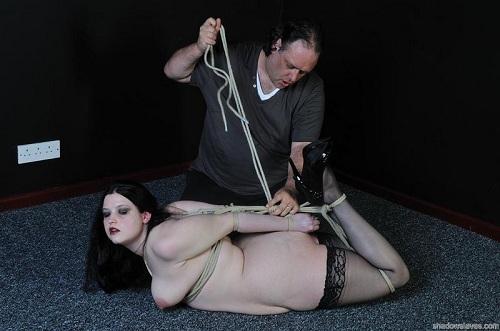 Slave girl emma hogtied and spanked